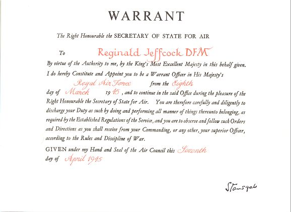Warrant from Secretary of State for Air 1945